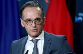 German Foreign Minister Heiko Maas speaks during a joint press conference as part of a meeting with Rafael Mariano Grossi,…