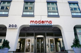Moderna, Inc. headquarters is seen, Tuesday, Dec. 15, 2020, in Cambridge, Mass. The Food and Drug Administration said that a…
