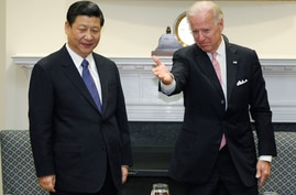 Vice President Joe Biden meets with Chinese Vice President Xi Jinping in the Roosevelt Room at the White House in Washington,…