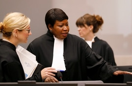 Prosecutor Fatou Bensouda, center, in the courtroom of the International Criminal Court (ICC) during the closing statements of…