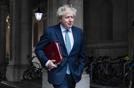 Britain's Prime Minister Boris Johnson returns to Downing Street after attending the government's weekly Cabinet meeting at the…