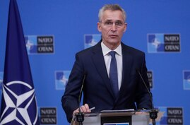 NATO Secretary General Jens Stoltenberg speaks during a joint press conference with Mauritania's President Mohamed Ould El…