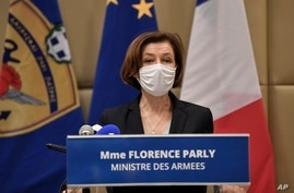 French Defense Minister Florence Parly makes a statement after signing the Rafale warplane deal in Athens, Monday, Jan. 25,…