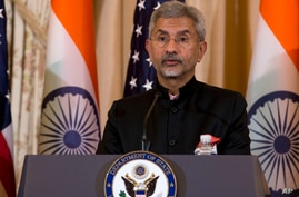 Indian External Affairs Minister Dr. S. Jaishankar speaks during a news conference after a bilateral meeting between the U.S…