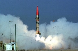 Launch of Ghaznavi short-range surface-to-surface nuclear-capable missile, Islamabad, Pakistan, photo