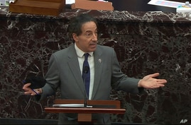 In this image from video, House impeachment manager Rep. Jamie Raskin, D-Md., agrees to strike some of their impeachment…