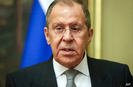 Russian Foreign Minister Sergey Lavrov seen in Moscow, Russia, Wednesday, April 28, 2021. Lavrov said in an interview published…