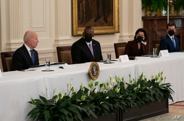 President Joe Biden speaks during a Cabinet meeting in the East Room of the White House, Thursday, April 1, 2021, in Washington…