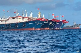In this photo provided by the National Task Force-West Philippine Sea, Chinese vessels are moored at Whitsun Reef, South China…