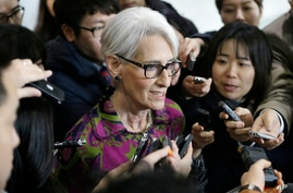 U.S. Undersecretary of State for Political Affairs Wendy Sherman speaks to reporters after her meeting with South Korean…