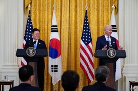 President Joe Biden speaks during a joint news conference with South Korean President Moon Jae-in, in the East Room of the…