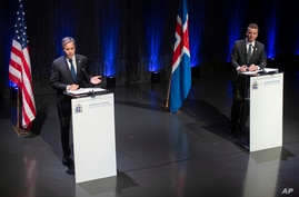 US Secretary of State Antony Blinken, left, speaks during a joint press conference following meetings with the Icelandic…