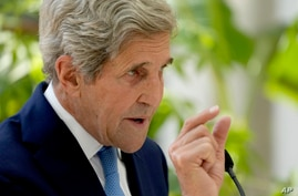 U.S. Special Presidential Envoy for Climate John Kerry delivers a policy speech in the Nash Conservatory at the Royal Botanic…