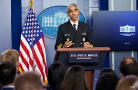 Surgeon General Dr. Vivek Murthy speaks during the daily briefing at the White House in Washington, Thursday, July 15, 2021. …