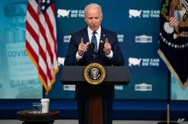 President Joe Biden speaks about the COVID vaccination program during an event in the South Court Auditorium on the White House…