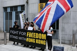 Union groups submit petition letters to British Consulate General to express their determination of opposing the new national security law, in Hong Kong