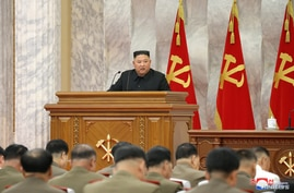 North Korean leader Kim Jong Un guides a meeting of the Seventh Central Military Commission of the Workers' Party of Korea
