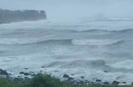 Strong waves caused by Typhoon Bavi are seen on Jeju island