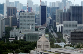 FILE PHOTO: The Parliament Building is seen in front of office buildings of government ministeries in Tokyo