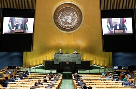 Palestinian President Mahmoud Abbas speaks virtually during the 75th annual U.N. General Assembly