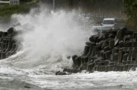 High waves triggered by Typhoon Haishen crash against the coast in Kagoshima, Kagoshima prefecture, in southwestern Japan