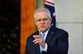 Australia's Prime Minister Scott Morrison attends a news conference at Parliament House in Canberra