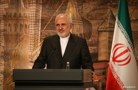 Iranian Foreign Minister Zarif talks during a news conference in Istanbul