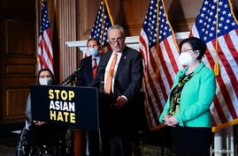 News conference after the Senate passed the COVID-19 Hate Crimes Act on Capitol Hill in Washington