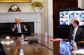 U.S. President Biden participates in virtual CEO Summit at the White House in Washington