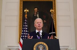 U.S. President Biden delivers remarks on the Department of Labor's March jobs report, in Washington