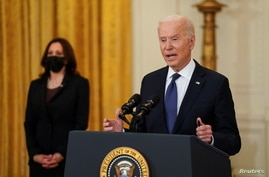 U.S. President Biden speaks to news media at the White House in Washington