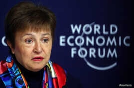 IMFManaging Director Kristalina Georgievaspeaks at a news conference ahead of the World Economic Forum (WEF) in Davos,…