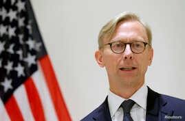 FILE PHOTO: Brian Hook, U.S. Special Representative for Iran, speaks at a news conference in London, Britain June 28, 2019…