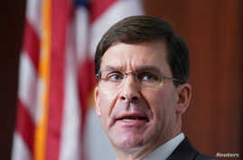 U.S. Secretary of Defense Mark Esper speaks at the Center for Strategic and International Studies (CSIS) Global Security Forum…