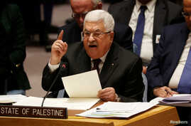 Palestinian President Mahmoud Abbas speaks during a Security Council meeting at the United Nations in New York, U.S., February…