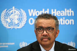 FILE PHOTO: Director-General of the WHO Tedros Adhanom Ghebreyesus, attends a news conference on the coronavirus (COVID-2019)…