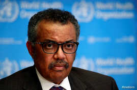 Director General of the World Health Organization (WHO) Tedros Adhanom Ghebreyesus attends a news conference on the situation…