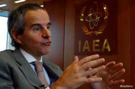 International Atomic Energy Agency (IAEA) Director General Rafael Grossi gestures during an interview with Reuters in his…