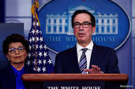 FILE PHOTO: Treasury Secretary Steven Mnuchin discusses details for economic relief during the daily coronavirus response…