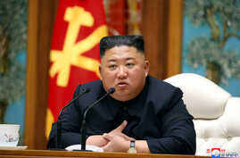 North Korean leader Kim Jong Un takes part in a meeting of the Political Bureau of the Central Committee of the Workers' Party…