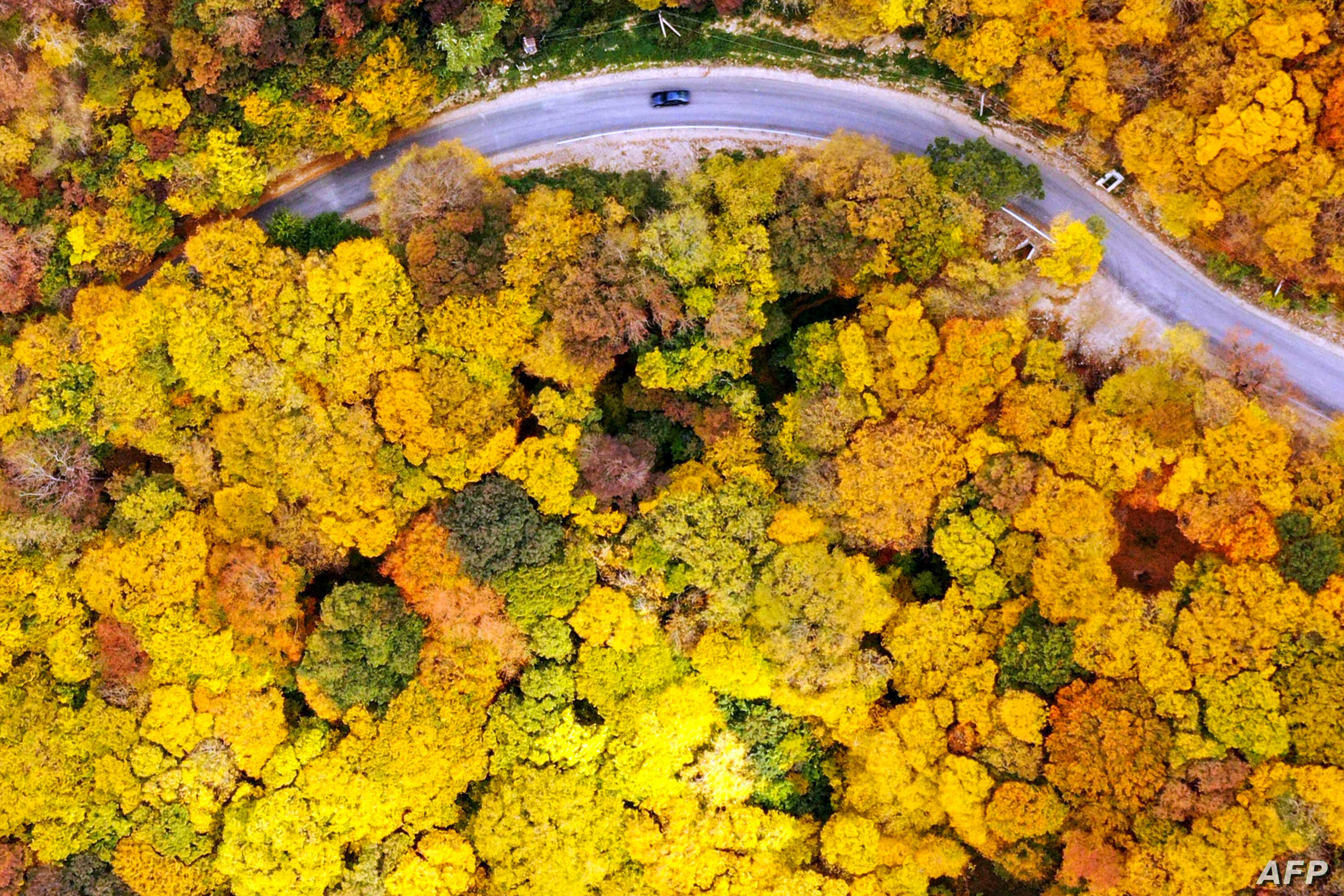 An aerial picture taken on October 23, 2019 shows a car moving along a road near the village of Martkopi, outside Tbilisi.