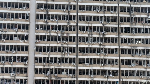 A picture shows the damages at the Electricity of Lebanon building on August 5, 2020 in the aftermath of a massive explosion in…