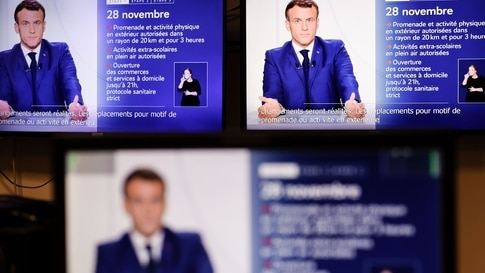 This screen grab made on November 24, 2020 shows French President Emmanuel Macron speaking during a televised address to the…