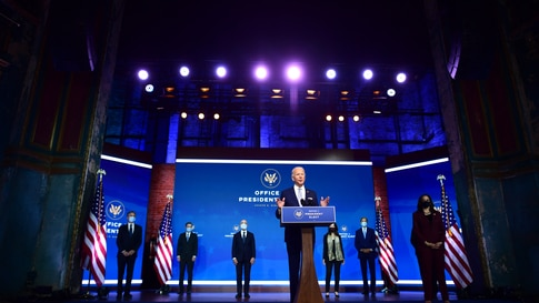 WILMINGTON, DE - NOVEMBER 24:  President-elect Joe Biden (C) introduces key foreign policy and national security nominees and…