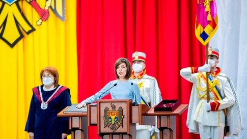 TOPSHOT - Moldova's President-elect Maia Sandu takes the oath of office during her inauguration ceremony in Chisinau on…