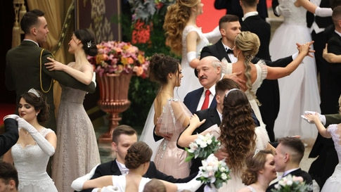 In this photo taken on Tuesday, Dec. 29, 2020, Belarusian President Alexander Lukashenko dances during a New Year's ball for…
