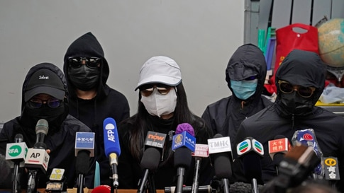 Relatives of 12 Hong Kong activists detained at sea by Chinese authorities, attend a press conference in Hong Kong, Monday, Dec…