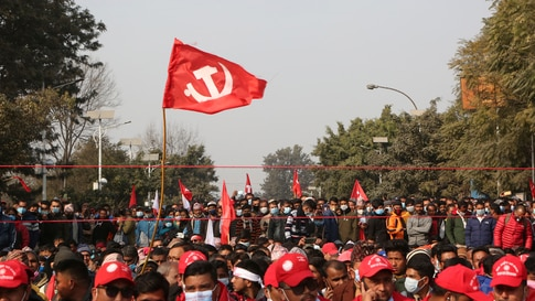 Nepalese supporters of the splinter group in the governing Nepal Communist Party participate in a protest in Kathmandu, Nepal,…