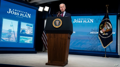 President Joe Biden speaks during an event on the American Jobs Plan in the South Court Auditorium on the White House campus,…