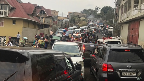 Traffic clogs a main road as residents try to flee Goma, Congo, Thursday, May 27, 2021 , five days after Mount Nyiragongo…